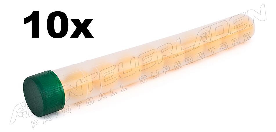 10 Stück Plastik-Röhrchen für 10 Paintballs