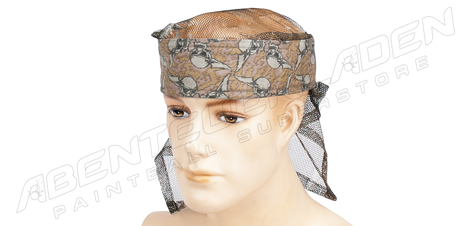 Sandana Headwrap mit Netz Flying Skulls braun