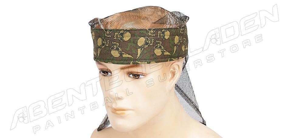 Sandana Headwrap mit Netz Flying Skulls green