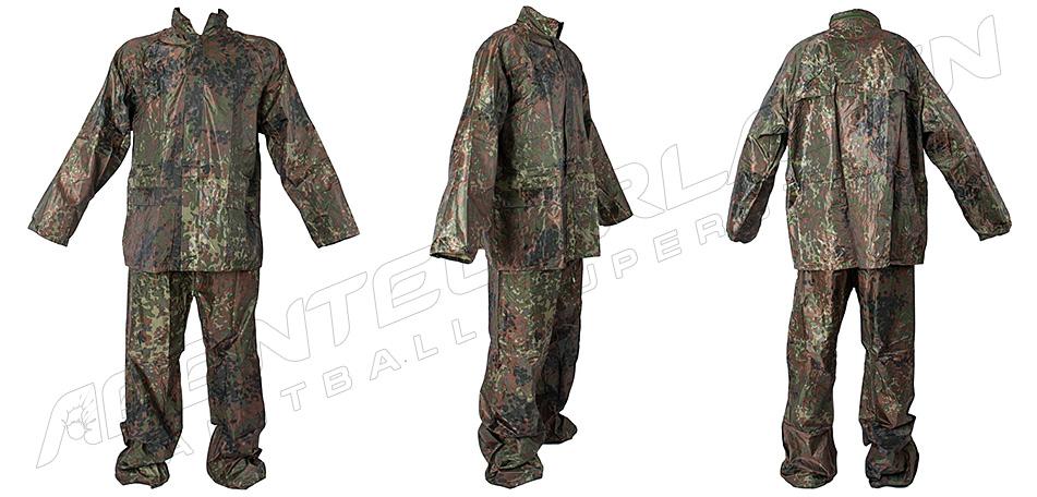 Regenanzug - Hose & Jacke flecktarn XL