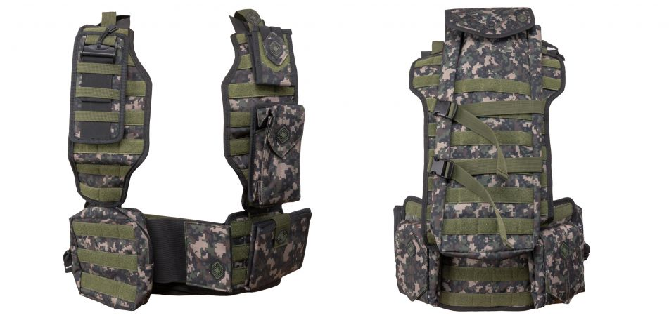 NXe Tactical MagFed Paintball Weste inkl. Battlepack & allen Zusatztaschen - digi camo
