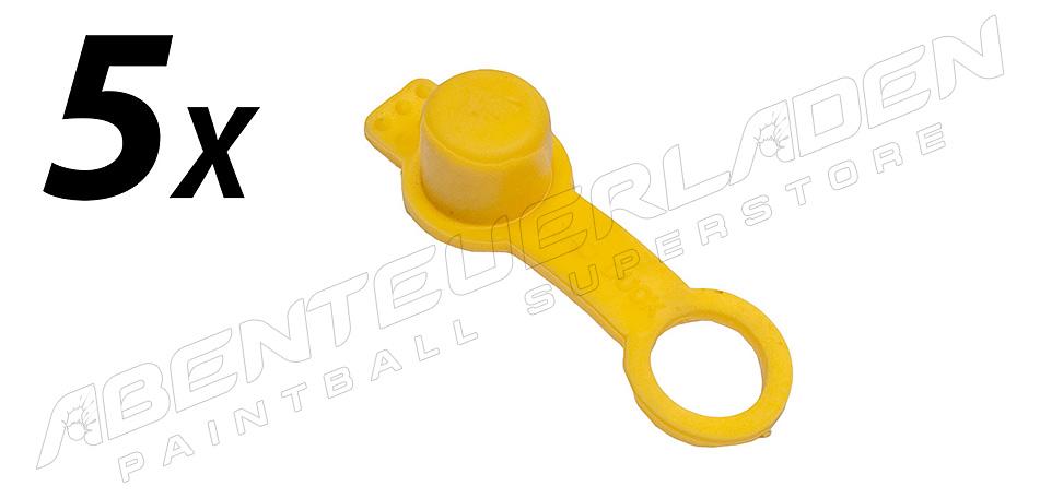 5er Set Füllnippelschutz mit Schlaufe gelb