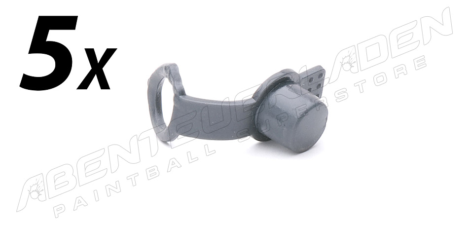 5er Set Füllnippelschutz mit Schlaufe grau