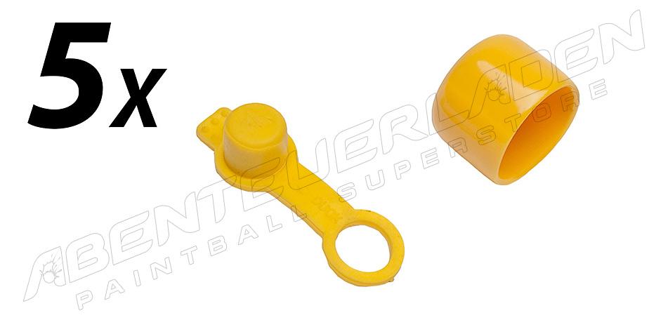5er Set Füllnippelschutz mit Schlaufe & Ventilschutzkappe gelb