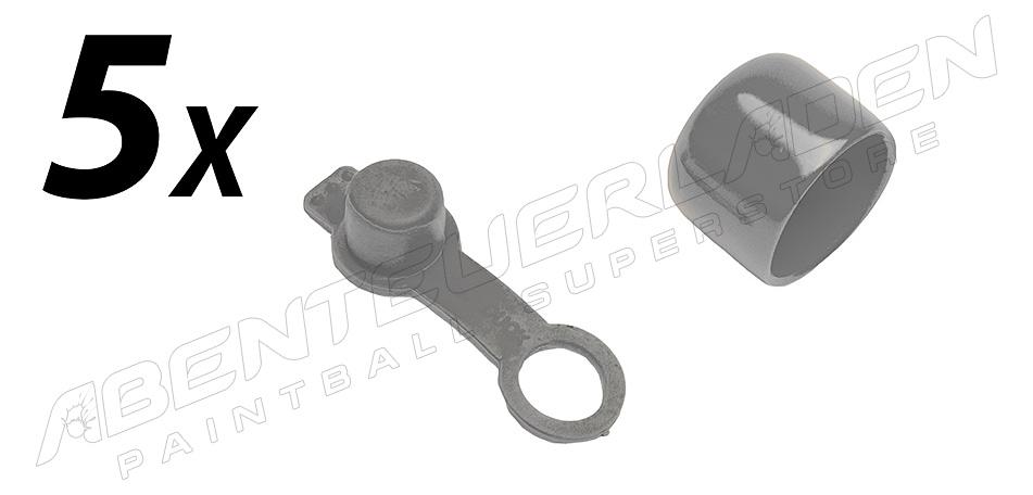 5er Set Füllnippelschutz mit Schlaufe & Ventilschutzkappe grau